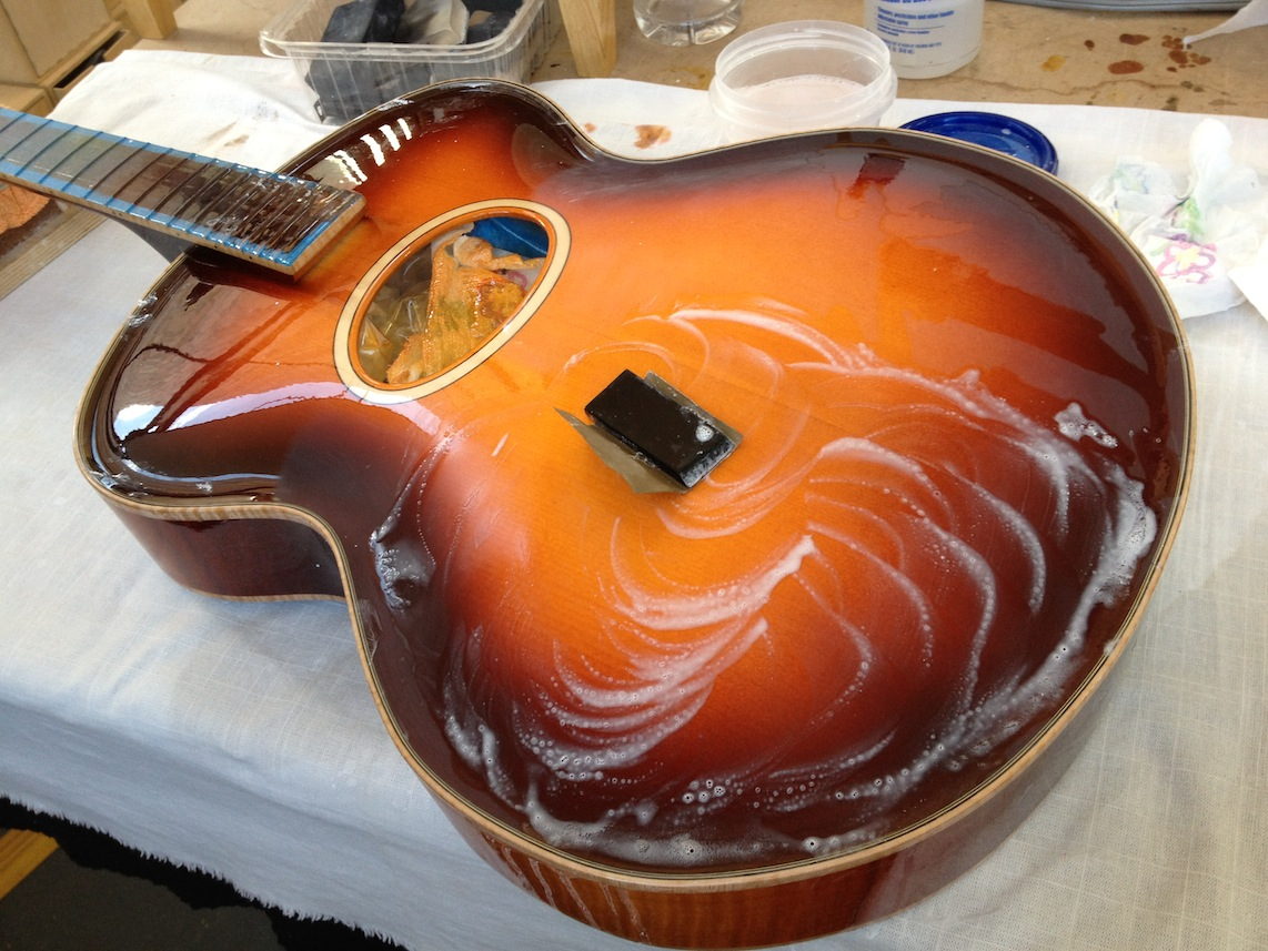 Wet Sanding Clear Coat >> Model 16 non cutaway acoustic archtop for Russ Campbell- wet sanding and polishing » Inside ...